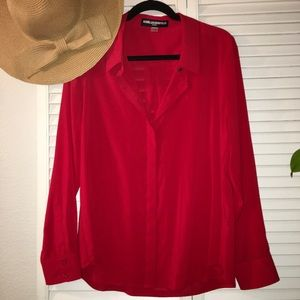 Red sexy soft button blouse